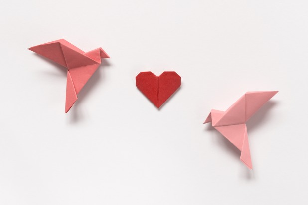 Pink Birds and Red Heart of origami on white background. Gift card for Valentine's Day.
