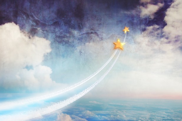 Two stars flying above the clouds, up into space. Dream together, relationships and dreams, a conceptual image (Two stars flying above the clouds, up into space. Dream together, relationships and dreams, a conceptual image, Byte, 222 components, 222 b